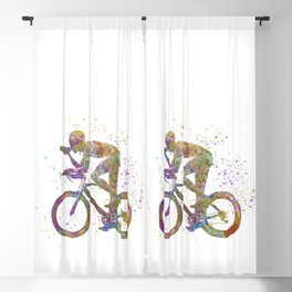 watercolor cyclist Blackout Curtain