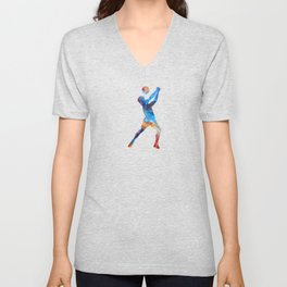 Volley ball player man 01 in watercolor Unisex V-Neck