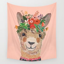 Llama with Flower Crown by Mia Charro Wall Tapestry