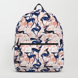 Deco Gazelles Garden // white background navy animals and rose metal textured decorative elements Backpack