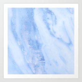 Shimmery Pure Cerulean Blue Marble Metallic Art Print