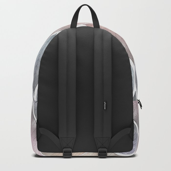 Metallic Leaf Pattern Backpack