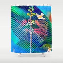 Floreal - Watercolor Tropical Rainforest Flowers And Birds Shower Curtain