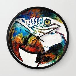 Parrot Head Art By Sharon Cummings Wall Clock