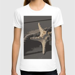 Starfish and boat rope on the pier - dark background - #Society6 - #buyart T-shirt