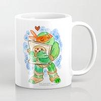 teenage mutant ninja turtles Mugs featuring Teenage Mutant Ninja Turtles Hug by Super Group Hugs