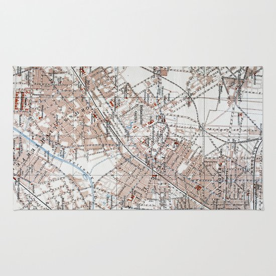 Vintage Map Of The Berlin Germany Suburbs Rug By - Berlin map 1914