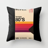 tape Throw Pillows featuring Super Tape by Mathiole