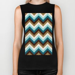 Funky Zigzag Pattern Teals Brown Gold Cream Biker Tank