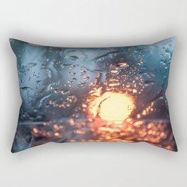 Defocus Glass with Blue and Yellow Light through Water Drops Rectangular Pillow