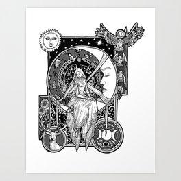 Girl in the Moon Art Print
