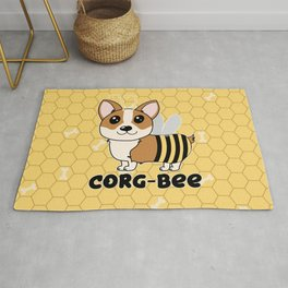 CorgBEE Cute Corgi Bee design for dog lovers - summer, spring, yellow, animal lover Rug