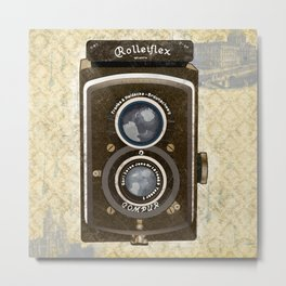 Yellow Vintage Camera Art Metal Print
