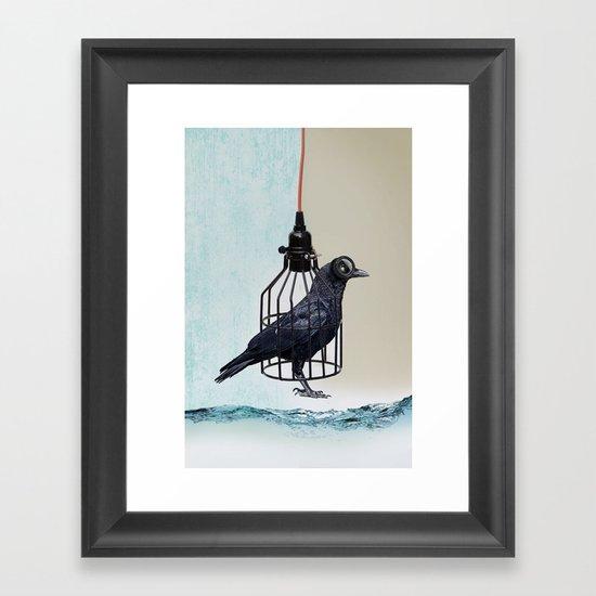 bird in the wire Framed Art Print
