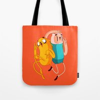 finn and jake Tote Bags featuring Finn & Jake by Daniel Mackey
