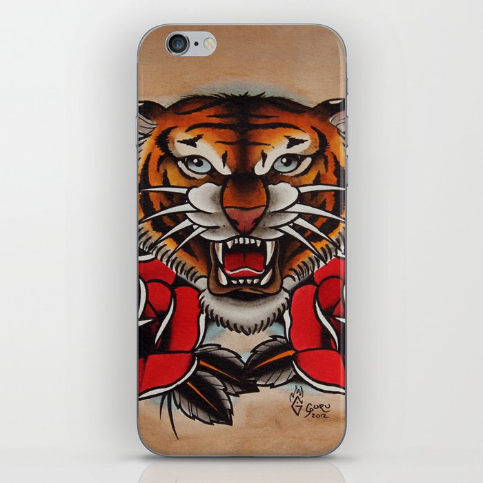 Old School Tiger And Roses Tattoo Iphone Skin By Gurumarques