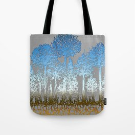 Blue and white forest Tote Bag