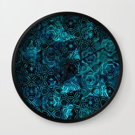 Starry Deep Blue Night Sky , Abstract Geometric Pattern with Moon Lit Domino Stars Wall Clock