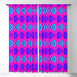 Pattern of blue hearts and azure stripes on a blackberry background. Blackout Curtain