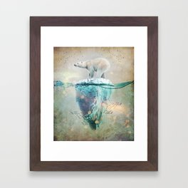 Polar Bear Adrift Framed Art Print