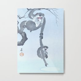 Monkeys Playing with Moon Reflection in the Water - Vintage Japanese Woodblock Print Art  Metal Print