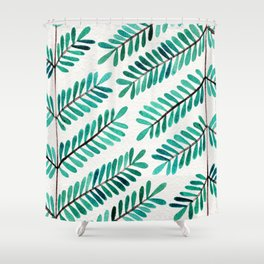 Turquoise Leaflets Shower Curtain