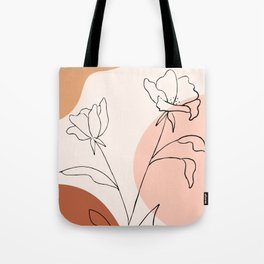 Poppies line drawing Tote Bag