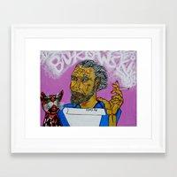 bukowski Framed Art Prints featuring Bukowski by Pluto00Art / Robin Brennan