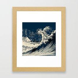Japanese Waves Blue Framed Art Print
