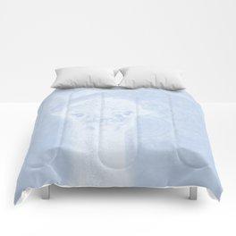 Ghostly alpaca and mandala in serenity blue Comforters