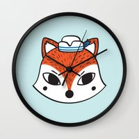 preppy Wall Clocks featuring The Preppy Fox by moochi