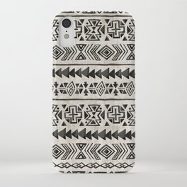Boho Tribal Black & Cream, Geometric Print, Ink Tribal Decor iPhone Case