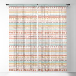 Boho Stripes - Watercolour pattern in rusts, turquoise & mustard. Nursery print Sheer Curtain