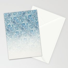 Ombre Watercolor Triangle Pattern (Blue) Stationery Cards