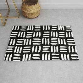 Black Mudcloth Pattern Rug