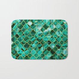 Quatrefoil Moroccan Pattern Green Malachite and gold Bath Mat