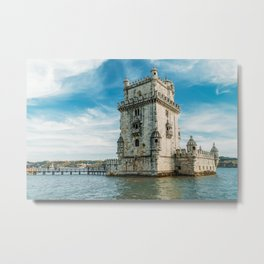 Belem Tower of Saint Vincent In Lisbon, Wall Art Print, Historic Architecture Art, Poster Decor Metal Print