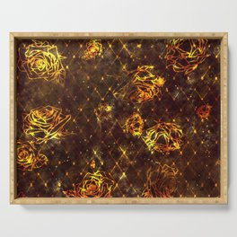 Diamond Rose Pattern - Maroon and Gold Serving Tray