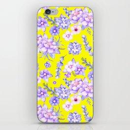 Modern elegant yellow lavender lilac pink watercolor floral iPhone Skin