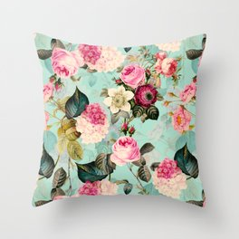 Vintage & Shabby Chic - Summer Teal Roses Flower Garden Throw Pillow