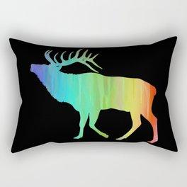 Rainbow Watercolor Dripping Elk II Rectangular Pillow