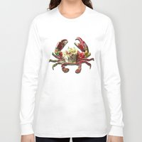 crab Long Sleeve T-shirts featuring Lucky Crab by JonezuArt