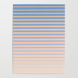 Abstract Beach Edge - Abstract Pastel Striped Gradient of sands, tans, and ocean blues Poster