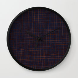 Navy and Rust Thread Pattern Wall Clock