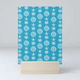 Sea Blue Seashell Pattern Mini Art Print