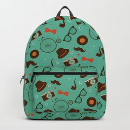 Colorful Hipster Elements Pattern on green Backpack
