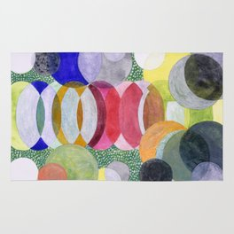 Overlapping Ovals and Circles on Green Dotted Ground Rug