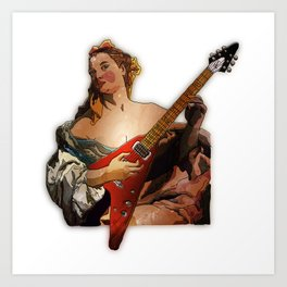 Girl with A Flying V  Art Print