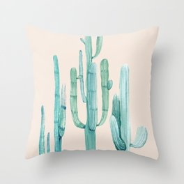 Three Amigos Turquoise + Coral Throw Pillow