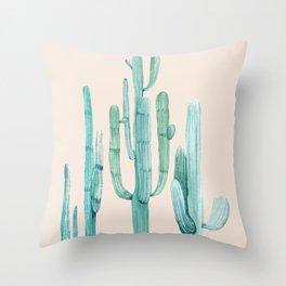 Three Amigos Turquoise + Coral Throw Pillow